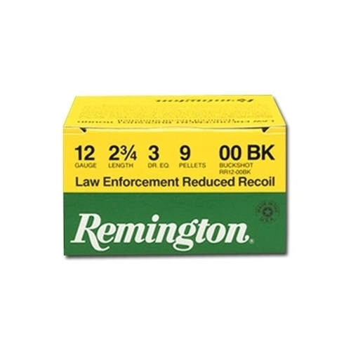 "Remington Law Enforcement 12 Gauge Ammo 2-3/4"" 00 Buckshot 9 Plt"