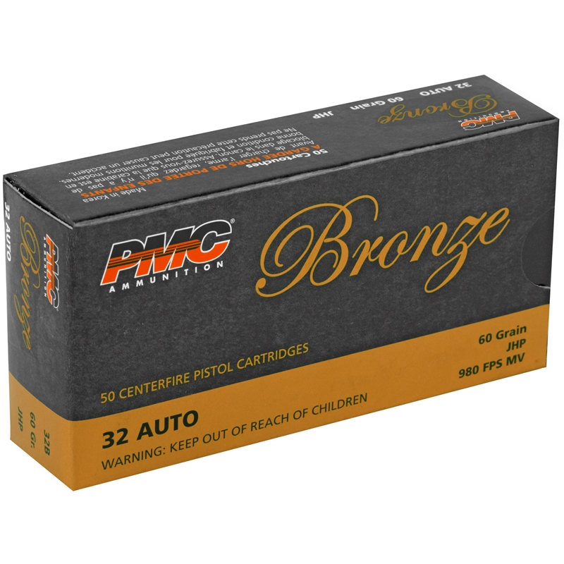 PMC Bronze 32 ACP Auto Ammo 60 Grain Jacketed Hollow Point
