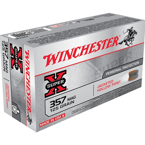 Winchester Super-X 357 Magnum Ammo 125 Grain Jacketed Hollow Point