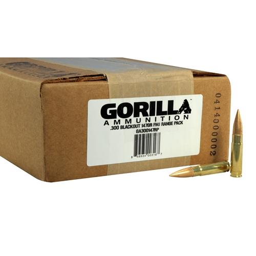 Gorilla Ammunition 300 AAC Blackout Ammo 147 Grain FMJ 200 Rounds Range Pack