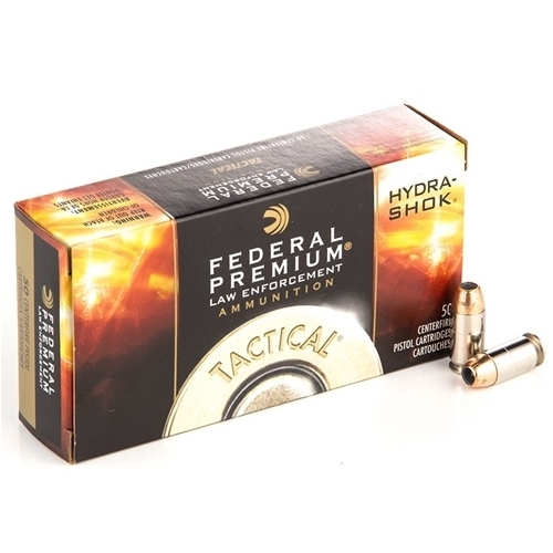 Federal Law Enforcement 380 ACP Auto Ammo 90 Grain Hydra-Shok JHP