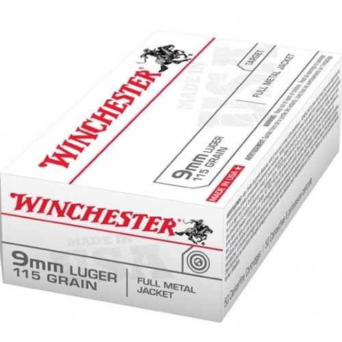 Winchester USA 9mm Luger 115 Grain Full Metal Jacket