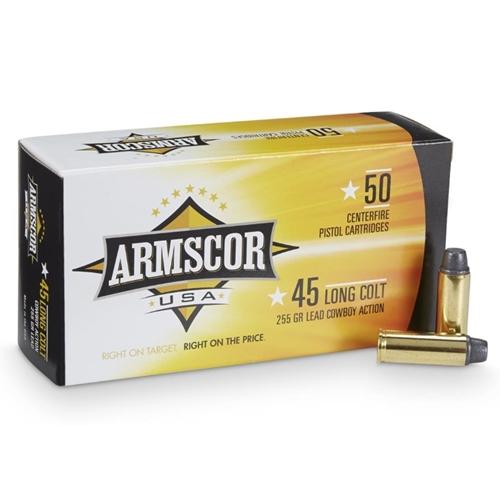 Armscor USA 45 Long Colt Ammo 255 Grain Lead Round Nose