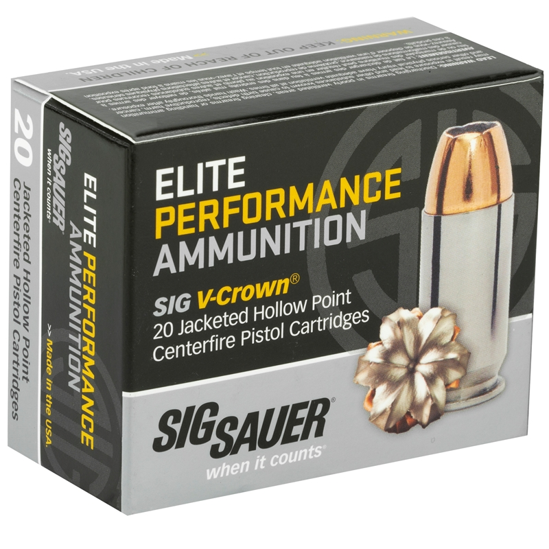 Sig Sauer Elite Performance 10mm AUTO Ammo 180 Gr V-Crown JHP