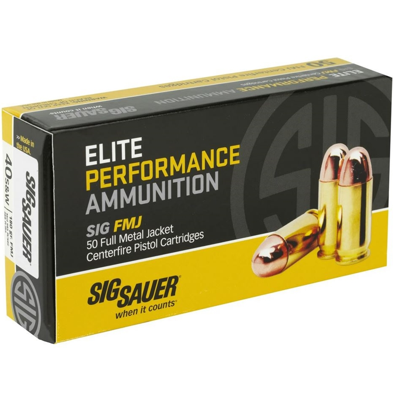 Sig Sauer Elite Performance 40 S&W Ammo 180 Grain Full Metal Jacket