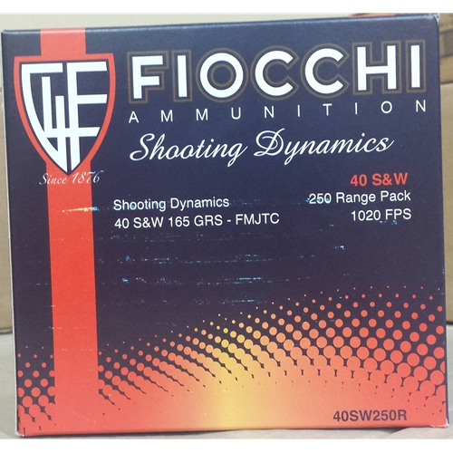 Fiocchi Shooting Dynamics 40 S&W Ammo 165 Grain FMJTC Value Pack