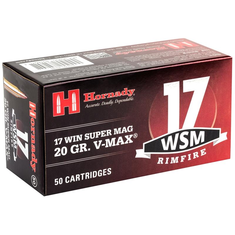 Hornady 17 WSM Ammo 20 Grain Hornady V-Max