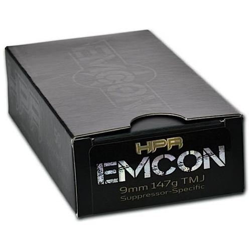 v=HPR HyperClean EMCON 9mm Luger Ammo 147 Grain Subsonic Total Metal Jacket