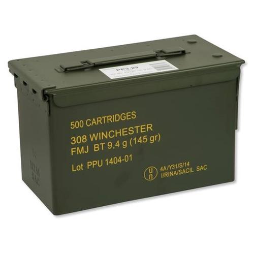 PPU 308 Winchester Ammo 145 Grain FMJ Bulk 500 Rnds in Ammo Can