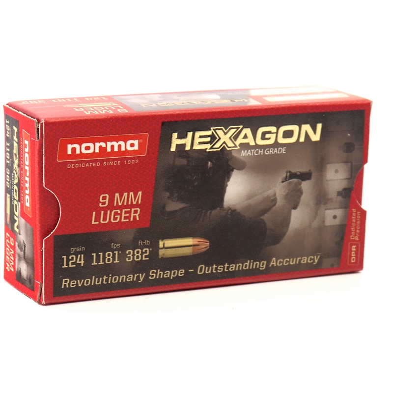 Geco Hexagon 9mm Luger Ammo 124 Grain JHP