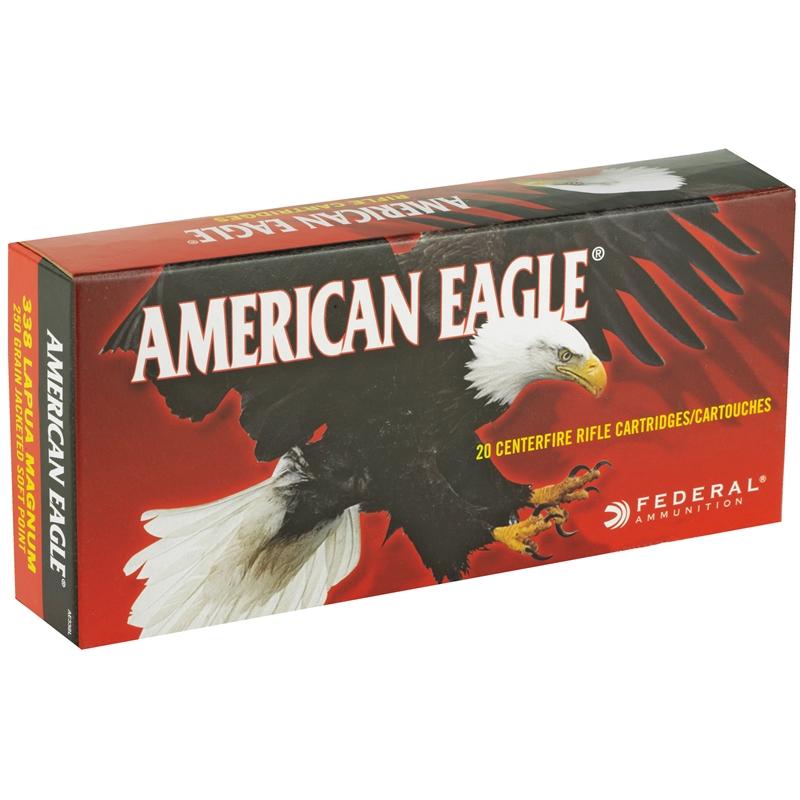 Federal American Eagle 338 Lapua Ammo 250 Grain JSP