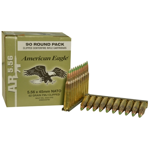 Federal American Eagle 5.56 Ammo NATO 62 Gr FMJ 90 Rds on Clips