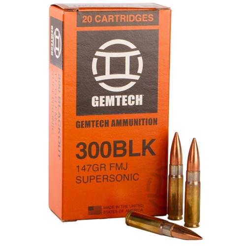 Gemtech Ammunition 300 AAC Blackout Ammo 147 Grain Supersonic Full Metal Jacket