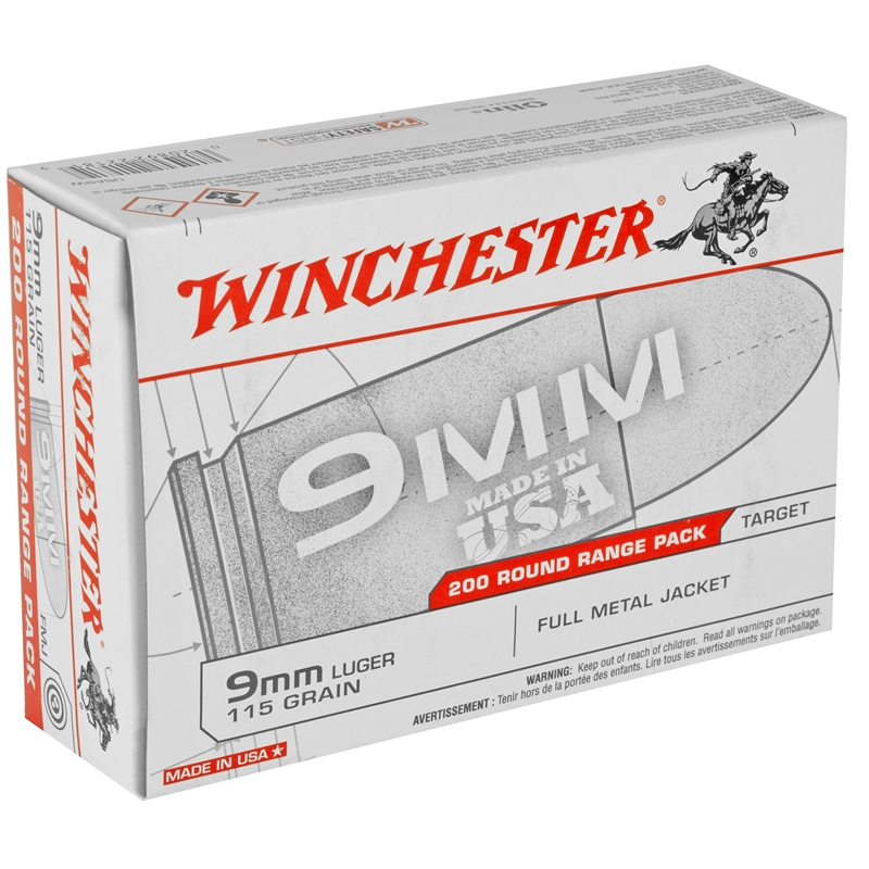 Winchester USA 9mm Luger 115 Grain FMJ 200 Rounds Value Pack