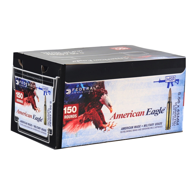 Federal American Eagle 5.56x45mm NATO Ammo 55 Grain FMJ 150 Round