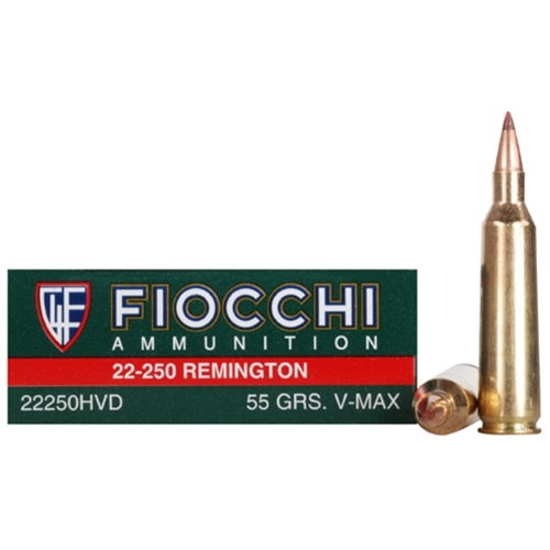 Fiocchi Extrema 22-250 Remington Ammo 55 Grain Hornady V-Max