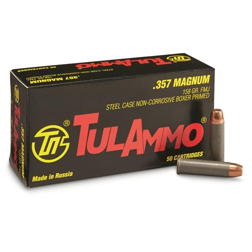 Tulammo 357 Magnum Ammo 158 Grain Full Metal Jacket Steel Case