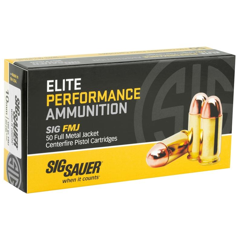 Sig Sauer Elite Performance 10mm Auto Ammo 180 Grain FMJ