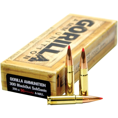 Gorilla Ammunition 300 AAC Blackout Ammo 208 Grain Hornady A-Max