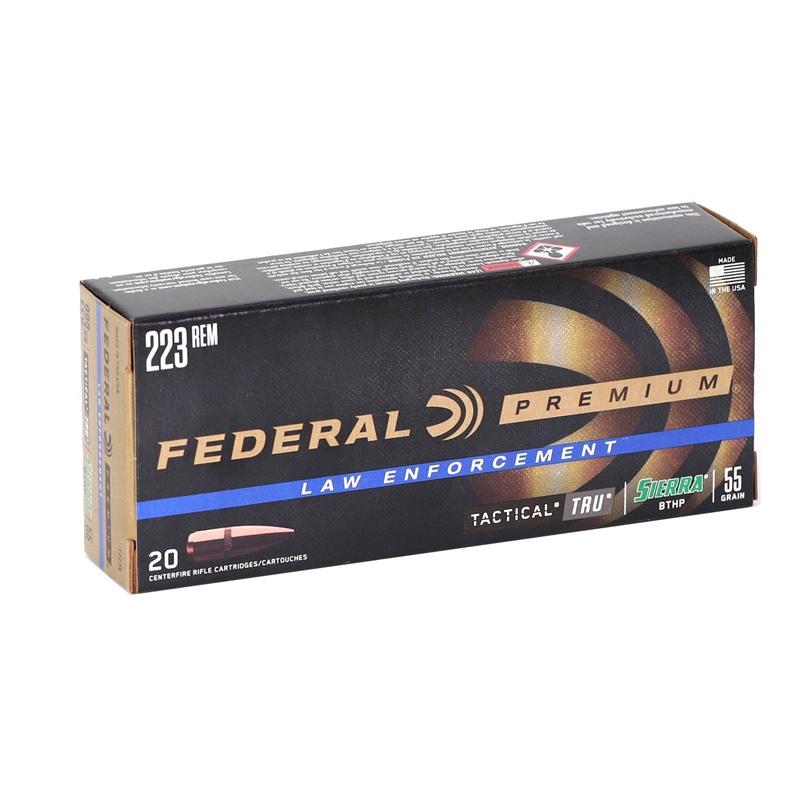 Federal Law Enforcement Tactical TRU 223 Remington Ammo 55 Grain Sierra  GameKing Hollow Point