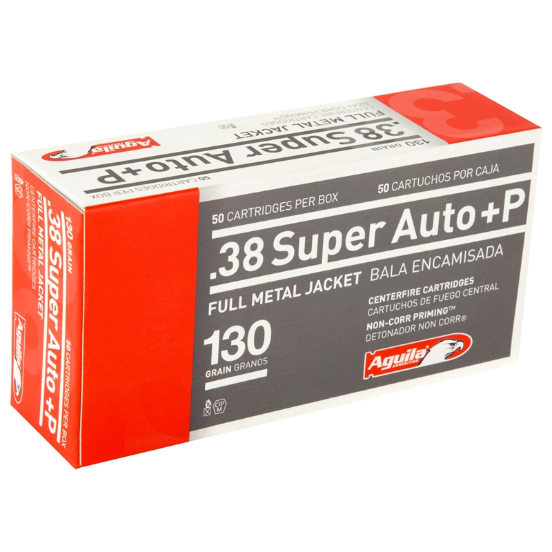 Aguila 38 Super Auto Ammo +P 130 Grain Full Metal Jacket