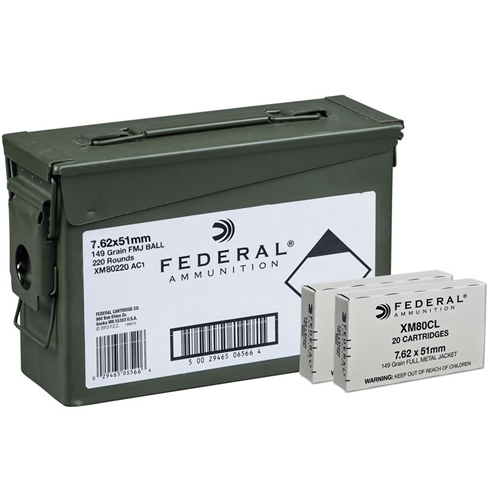 Federal 7.62x51mm NATO Ammo 149 Gr FMJ 220 Rds Ammo Can