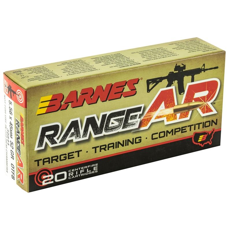 Barnes RangeAR 5.56x45mm Ammo NATO 52 Grain OTM