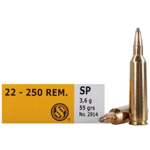 Sellier & Bellot 22-250 Remington Ammo 55 Grain SP