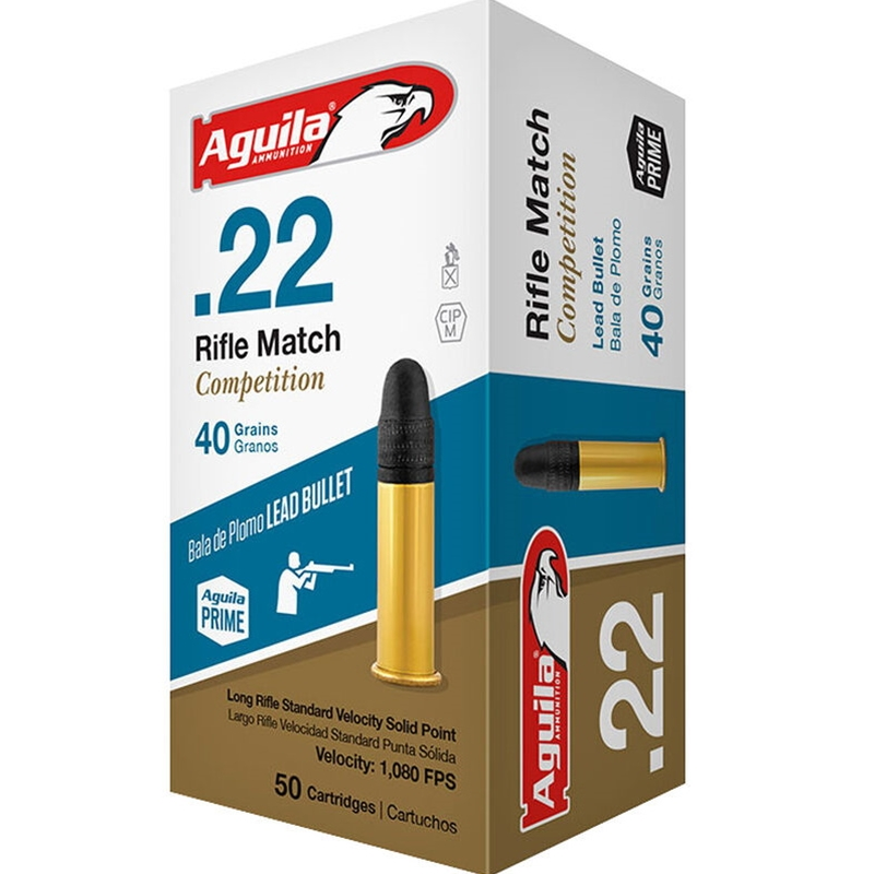Aguila Rifle Match 22 Long Rifle Ammo 40 Grain Lead Round Nose