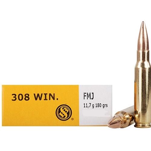 Sellier & Bellot 308 Winchester Ammo 180 Grain FMJ