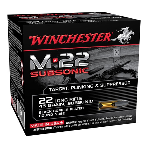 Winchester M-22 22 Long Rifle 45 Gr Black Plated LRN Bulk Pack 800 rounds