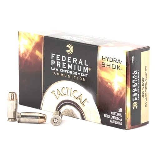 Federal Law Enforcement 40 S&W Ammo 165 Gr Hydra-Shok JHP