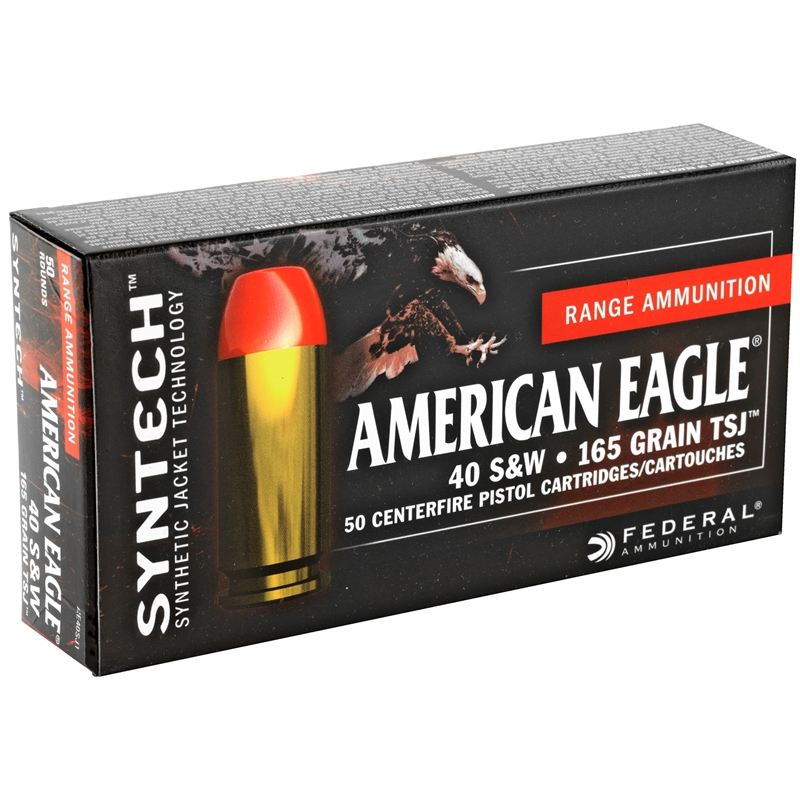 Federal American Eagle 40 S&W Ammo 165 Grain TSJ
