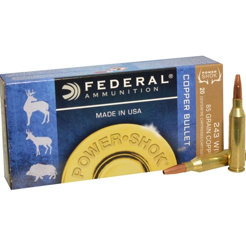 Federal Power-Shok 243 Winchester Ammo 85 Grain Copper Plated HP Lead Free