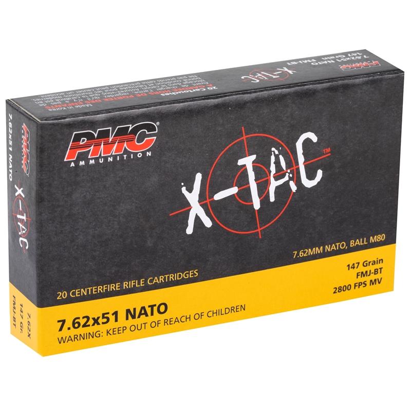 PMC X-Tac 7.62x51 NATO Ammo 147 Grain FMJ Boat Tail