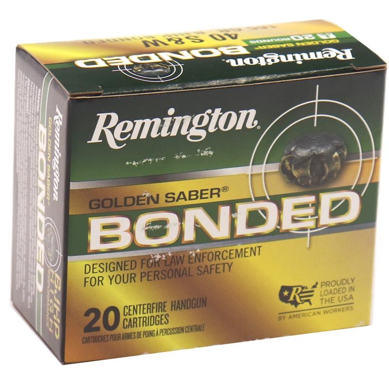 Remington Golden Saber LE 40 S&W Ammo 165 Gr Bonded Brass JHP