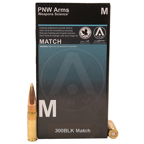 PNW Match 300 AAC Blackout 125 Grain Hollow Point Boat Tail