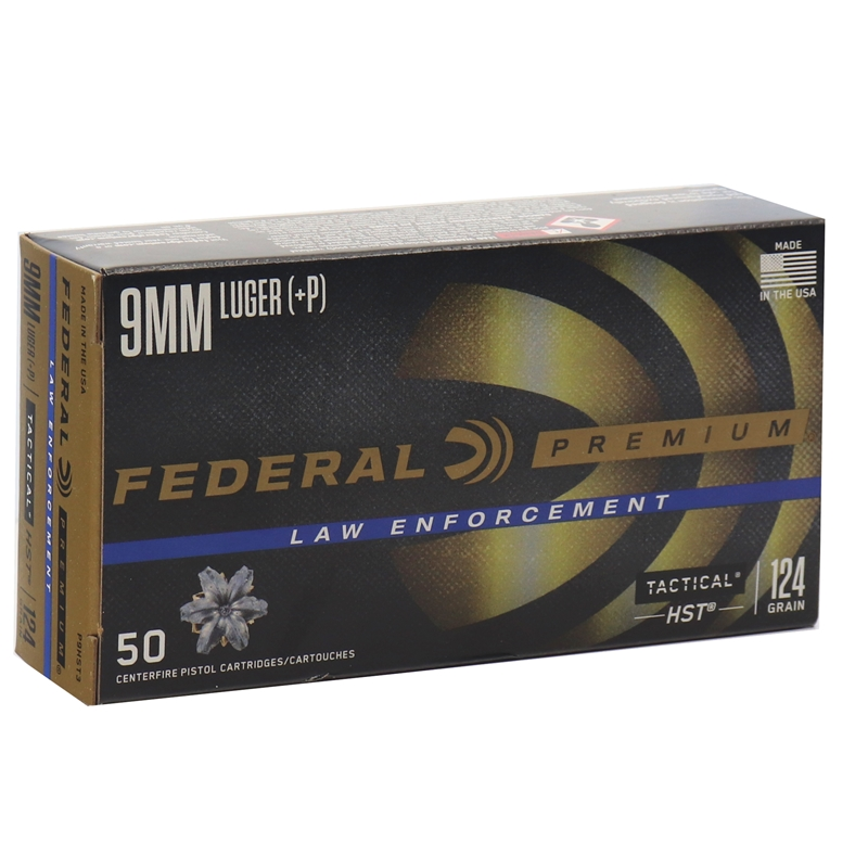 Federal Law Enforcement 9mm Luger Ammo 124 Grain +P HST JHP