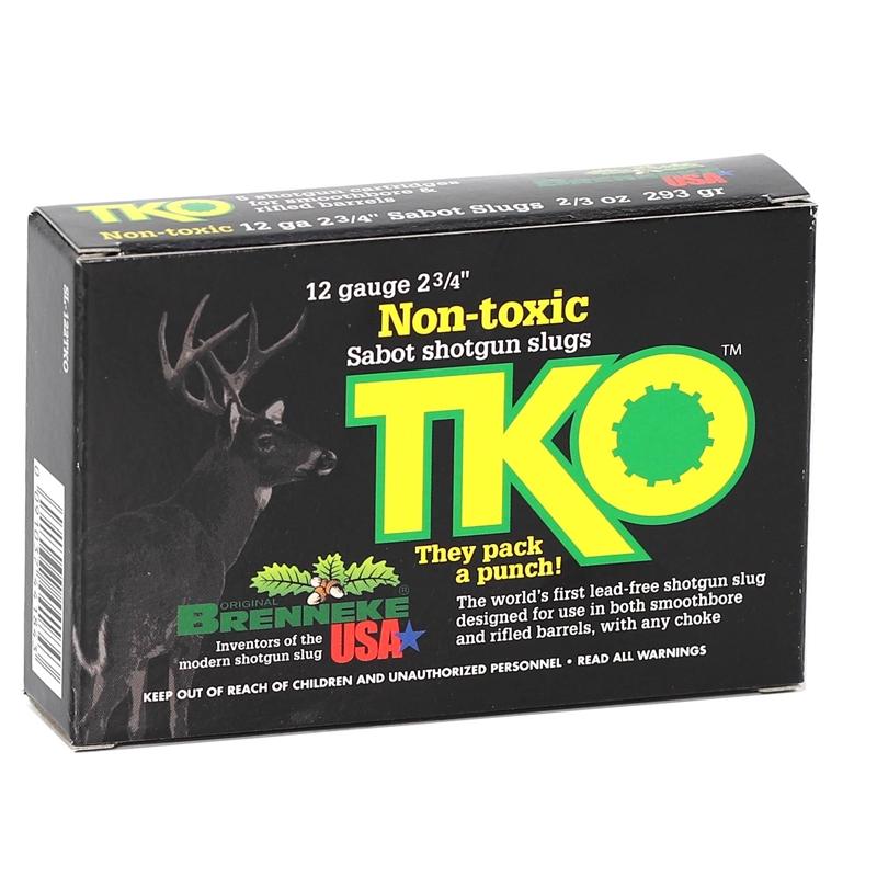"""Brenneke TKO 12 Ga Ammo 2-3/4"""" 2/3oz Non-Toxic Tin Sabot Slugs"""