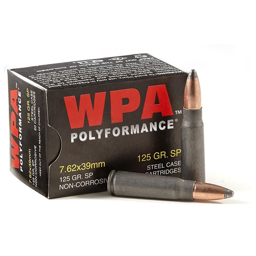 Wolf Polyformance 7.62x39mm Ammo 125 Grain SP Steel Case