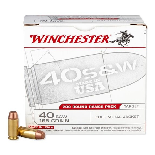 Winchester USA 40 S&W 165 Grain Full Metal Jacket Range Pack
