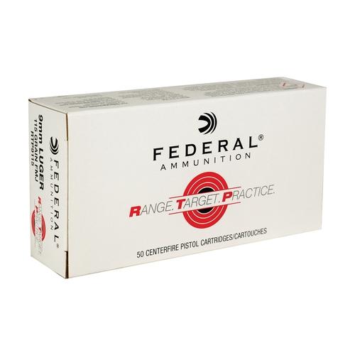 Federal Range Target Practice 9mm Luger Ammo 115 Grain FMJ