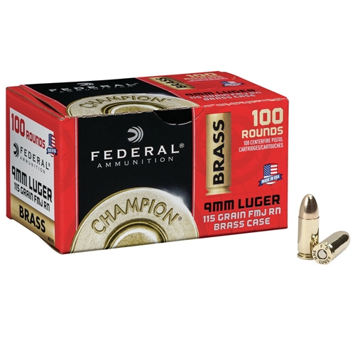 Federal Champion 9mm Luger Ammo 115 Grain FMJ 100 Rounds Value Pack