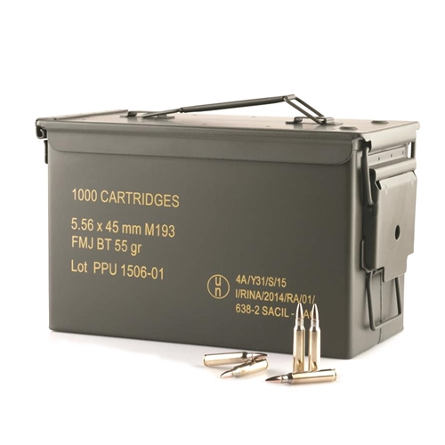 Prvi Partizan 5.56mm M193 Ammo 55 Grain FMJ Bulk 1000 Rounds in Ammo Can