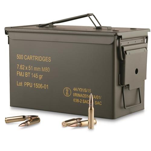 Prvi Partizan 7.62x51 NATO Ammo 145 Grain FMJBT Bulk in Ammo Can