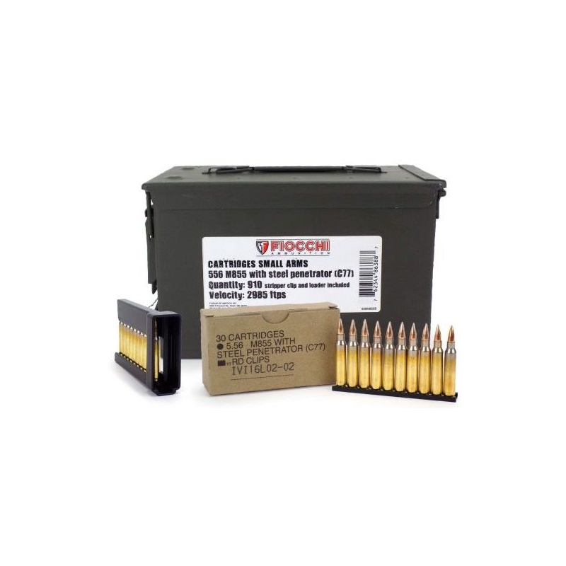 Fiocchi 5.56mm M855 Ammo 62 Grain Penetrator FMJ 910 Rounds on Stripper Clips