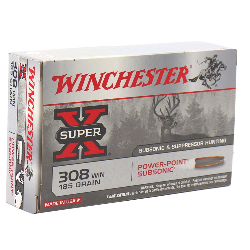 Winchester Super-X 308 Winchester Ammo Subsonic 185 Gr PP