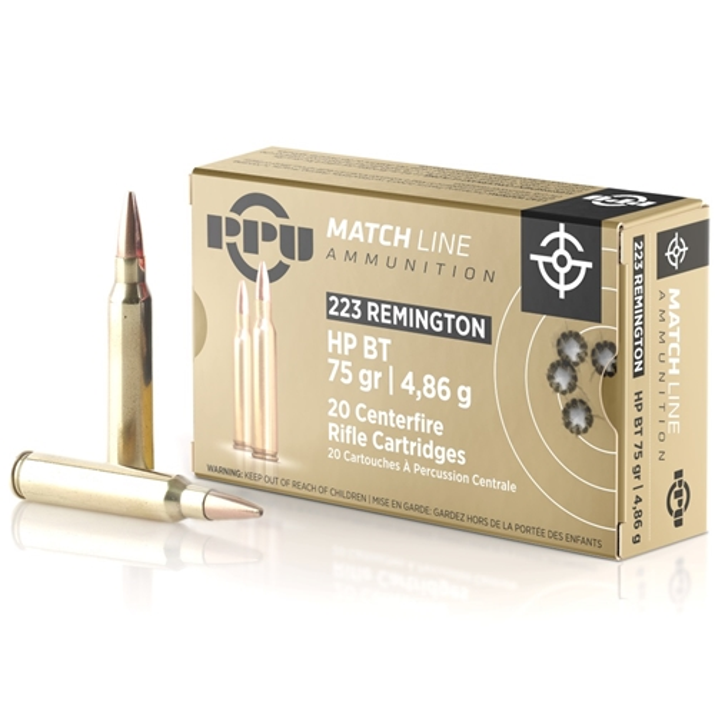 Prvi Partizan Match Ammo 223 Remington 75 Grain HP BT