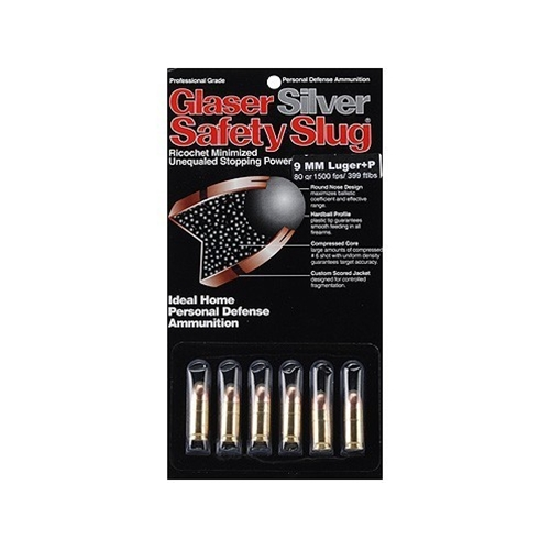 Glaser Silver 9mm Luger Ammo +P 80 Grain Safety Slug