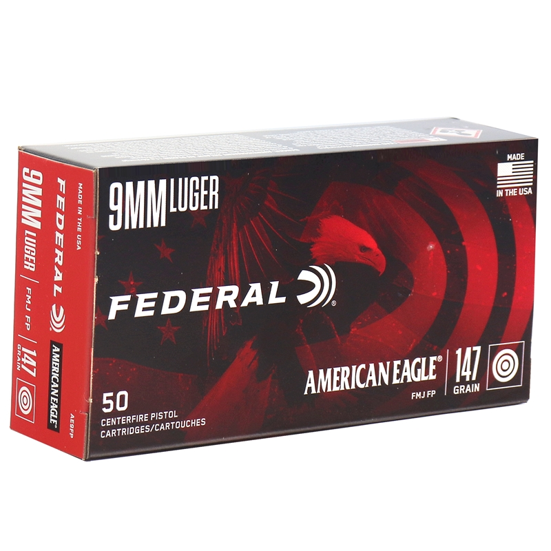 Federal American Eagle 9mm Luger Ammo 147 Grain FMJ